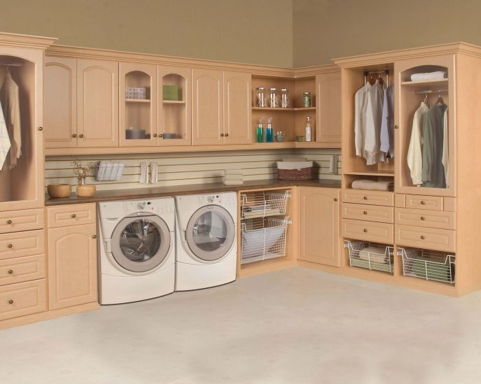 Laundry unit with Deco door with glass inserts & Custom Laundry Room Cabinets Laundry Room Organizers