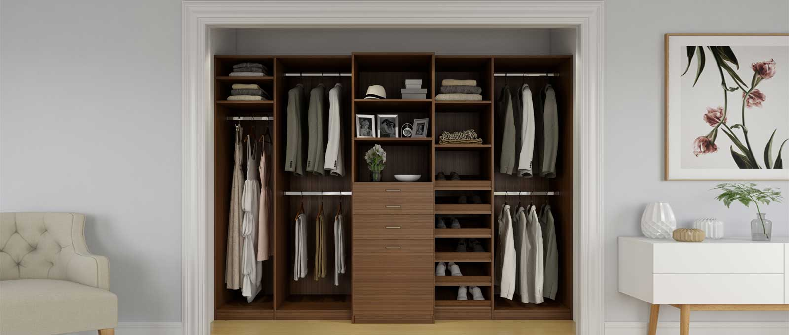 Bedroom: Light Wood Closet Organizer Lowes With Shelves And ...